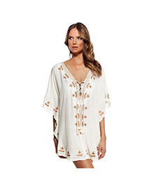 Sexy White Embroidered Pattern V-neck Loose Design Bikini Cover Up Smock