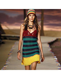 Sexy Multicolor Stripe Pattern Crochet Hollow Out V-neck Design Bikini Cover Up Smock