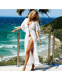 Sexy White Pure Color Lace Decorated Cardigan Design Bikini Cover Up Smock