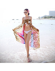 Sexy Red Leopard Pattern Simple Design Bikini Cover Up Smock