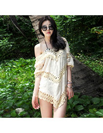 Sexy Light Beige Pure Color Crochet Hollow Out Design Bikini Cover Up Smock Cotton Swimwear Accessories