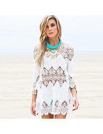 Sexy White Flower Pattern Hollow Out Design Bikini Cover Up Smock
