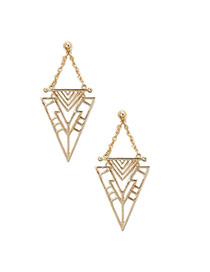 Trendy Gold Color Triangle Shape Decorated Hollow Out Design Alloy