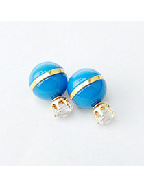 Personality Blue Candy Color Diamond Decorated Ball Shape Design Alloy