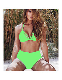 Trendy Fluorescent Green Pure Color High Waist Simple Design  Polyester Sexy Bikini