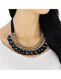 Vintage Navy Blue Waterdrop Shape Diamond Decorated Collar Design Fabric Bib Necklaces