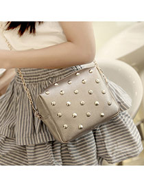 Fashion Khaki Pure Color Rivet Decorated Mini Deisng