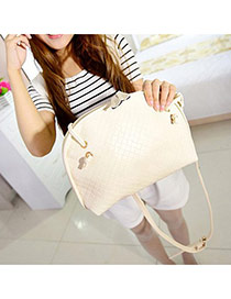 Fashion White Pure Color Decorated Rhombus Shell Shape Design Pu Shoulder bags