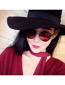 Fashion Plum Red Metal Frame Decorated Geometric Shape Design Plastic Women Sunglasses
