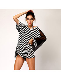 Sexy Black+white Dissymmetry Sleeve Stripe Pattern Decorated Loose Short Design Bikini Cover Up Smock