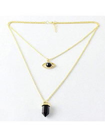 Trending Black Eye Shape Pendant Decorated Double Layer Design Alloy