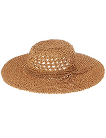 Fashoin Khaki Bowknot Decorated Hollow Out Weaving Design  Straw Sun Hats