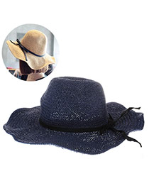 Fashoin Sapphire Blue Bowknot Decorated Wave Shape Eaves Design  Straw Sun Hats