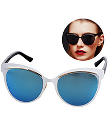 Personality Blue Cat Eyes Shape Frame Simple Design Resin Women Sunglasses