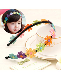 Sweet Multi-color Embroidered Flower Decorated Simple Design  Fabric Kids Accessories