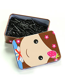 Cute Black Pure Color Decorated With Little Girl Pattern Box Design