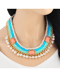 Retro Blue Pearl Decorated Weave Multilayer Design