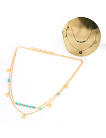 Retro Blue Beads&round Shape Decorated Double Layer Design Alloy Chains