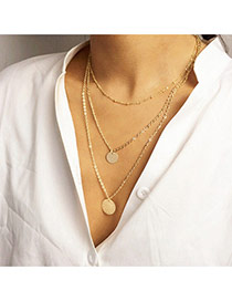 Personality Gold Color Round Pendant Decorated Multilayer Design