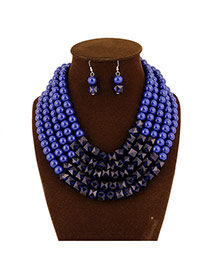 Fashion Blue Beads Decorated Multilayer Collar Shape Design  Acrylic Jewelry Sets