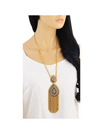 Retro Gold Color Tassel Decorated Water Drop Shape Design Alloy