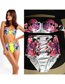 Sexy White Peony Pattern Decorated High Waist Design  Polyester Sexy Bikini