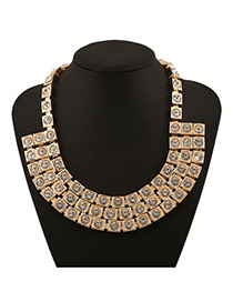 Luxury Yellow Square Matching Decorated Multilayre Design Alloy Bib Necklaces