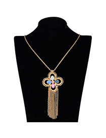 Vintage Yellow Long Tassel&flower Shape Pendant Decorated Simple Design Alloy Chains