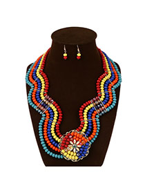 Exaggerate Multi-color Flower Shape Decorated Multilayer Collar Design Acrylic Jewelry Sets