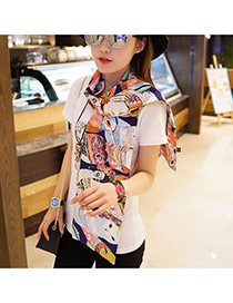 Personality Sapphire Blue Bird Pattern Decorated Duplex Design  Imitated Silk Fabric Thin Scaves