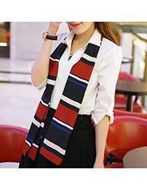 Fashion Black+claret-red Stripe Pattern Decorated Duplex Design  Imitated Silk Fabric Thin Scaves