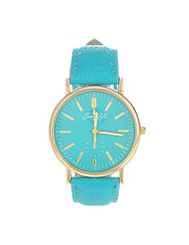 Exquisite Blue Letter Pattern Decorated Pure Color Design  Pu Ladies Watches