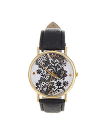 Exquisite Black Flower Pattern Decorated Pure Color Design  Pu Ladies Watches
