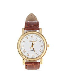 Fashion Coffee Letter Pattern Decorated Pure Color Design  Pu Ladies Watches
