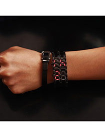 Personality Gun Balck+red Led Display Decorated Double Chain Design Alloy Men's Watches