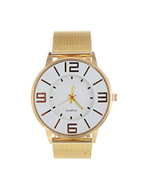 Fashion Gold Color Big Digital Decorated Hollow Out Strap Design  Alloy Ladies Watches