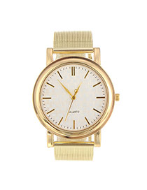 Fashion Gold Color Pure Color Decorated Hollow Out Strap Design  Alloy Ladies Watches