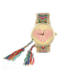 Vintage Green+red Heart Shape Pattern Decorated Hand-woven Strap Design  Fabric Ladies Watches