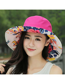 Trending Plum Red Flower Pattern Decorated Folding Design(rondom Color Straps)  Fabric Sun Hats