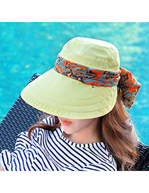 Trending Yellow Flower Pattern Bowknot Decorated Large Brim Folding Design  Fabric Sun Hats