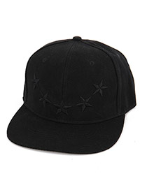 Fashion Black Embroidered Star Pattern Decorated Pure Color Design