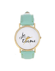Fashion Light Green Letter Pattern Decorated Simple Design  Pu Ladies Watches