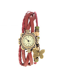 vintage Claret-red Butterfly Shape Decorated Multilayer Design Pu Ladies Watches
