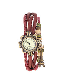 vintage Claret-red Eiffel Tower Shape Decorated Multilayer Design
