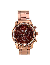 Fashion Champagne Diamond Decorated Small Seconds Round Case Design Alloy Men's Watches