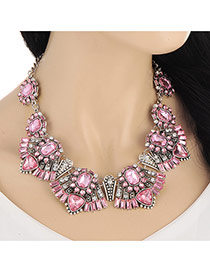 Vintage Pink Geometric Shape Diamond Decorated Short Chain Design Alloy Bib Necklaces