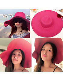 Fashoin Plum Red Spring and summer Seaside Beach Straw Sun Hats