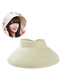 Fashoin Beige Big Bowknot Decorated No Top Wide Eaves Design  Straw Sun Hats