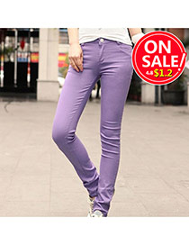 Fashion Light Purple Candy Color Slim Design Fabric Trousers