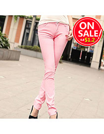 Fashion Light Pink Candy Color Slim Design Fabric Trousers